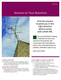 'Answers to Your Questions' thumbnail image of the cover of the brochure with an image of  a weather vane