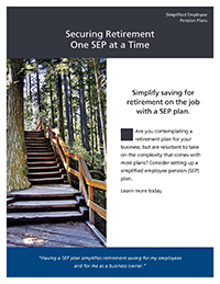 'Securing Retirement One Step at a Time'  thumbnail image of the cover of the brochure with an image of steps in a forest.