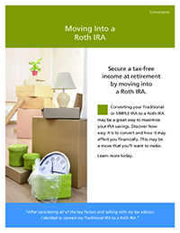 'Moving into a Roth IRA' thumbnail image of the cover of the brochure with an image of  unpacked furniture