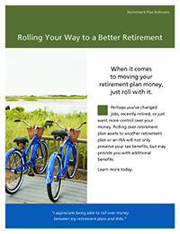 'Rolling Your Way to a Better Retirement' thumbnail image of the cover of the brochure with an image of two bikes overlooking a marsh