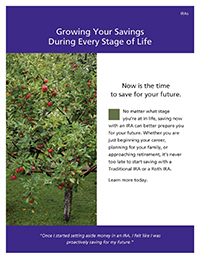 'Growing your savings during every stage of life' thumbnail image of the cover of the brochure with an image of an apple tree