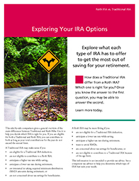 'Exploring your IRA Options' thumbnail image of the cover of the brochure with an image of a curved street and a road sign.